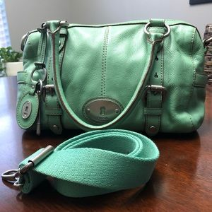 FOSSIL Maddox Convertible Mint Leather Cross Bag.